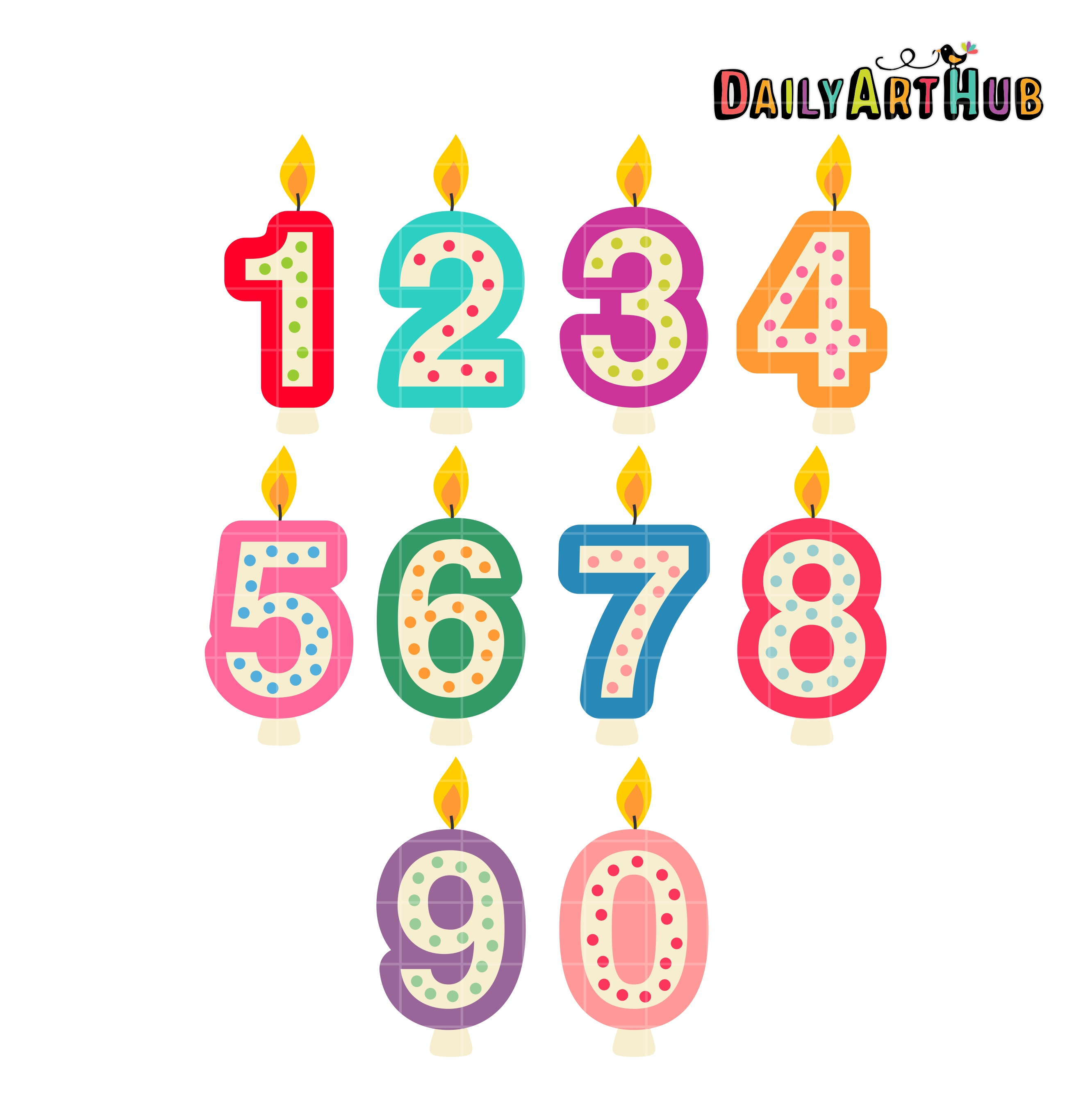 Birthday Number Candles Clip Art Set