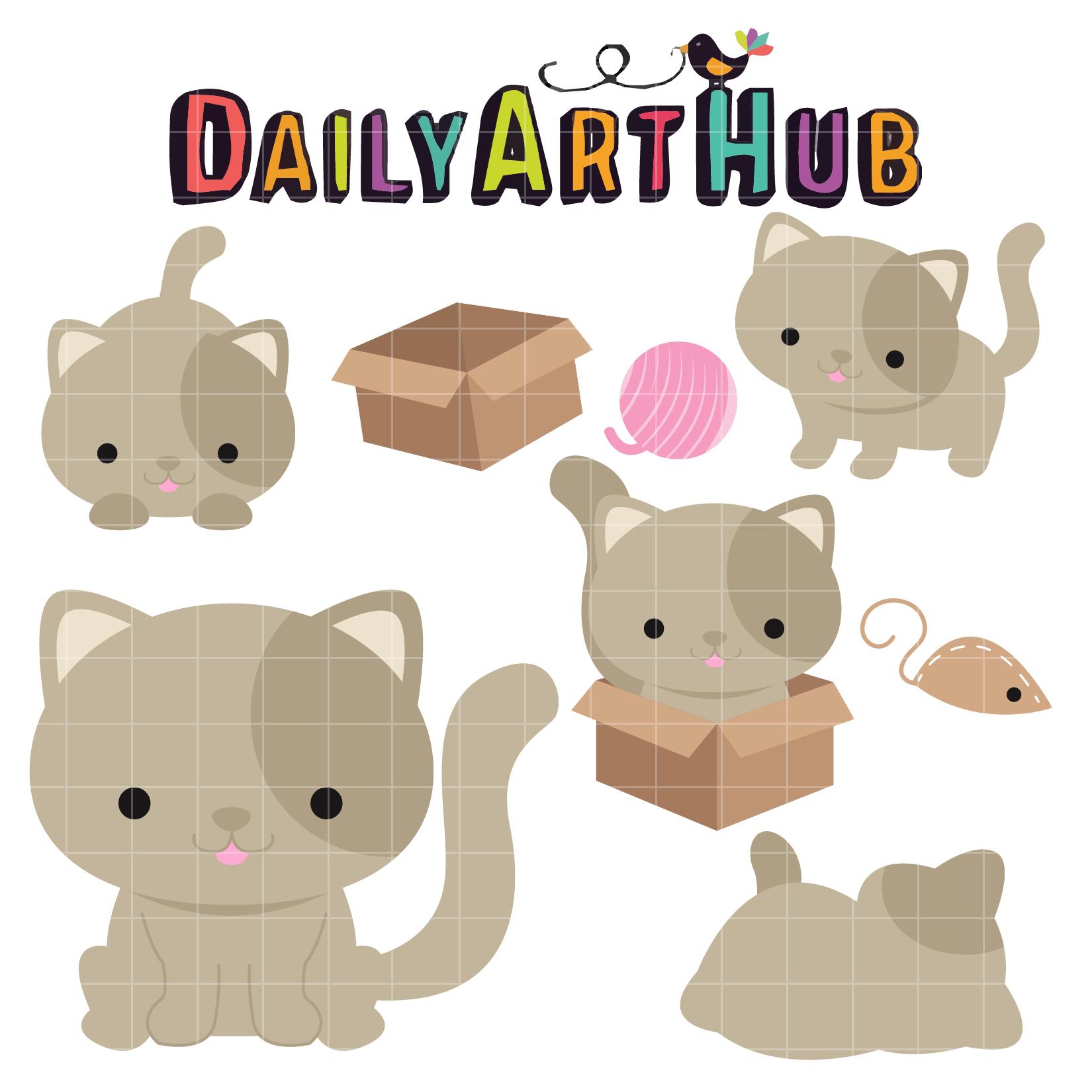 Cute Cat Clip Art Set – Daily Art Hub – Free Clip Art Everyday