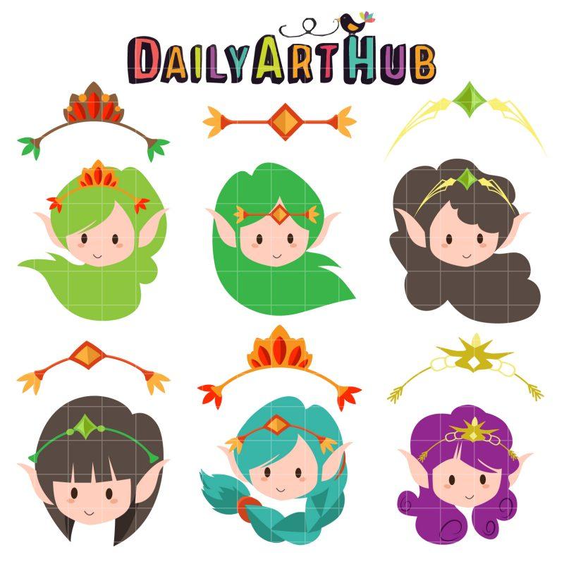 Cute Head Elves and Crowns-q-01