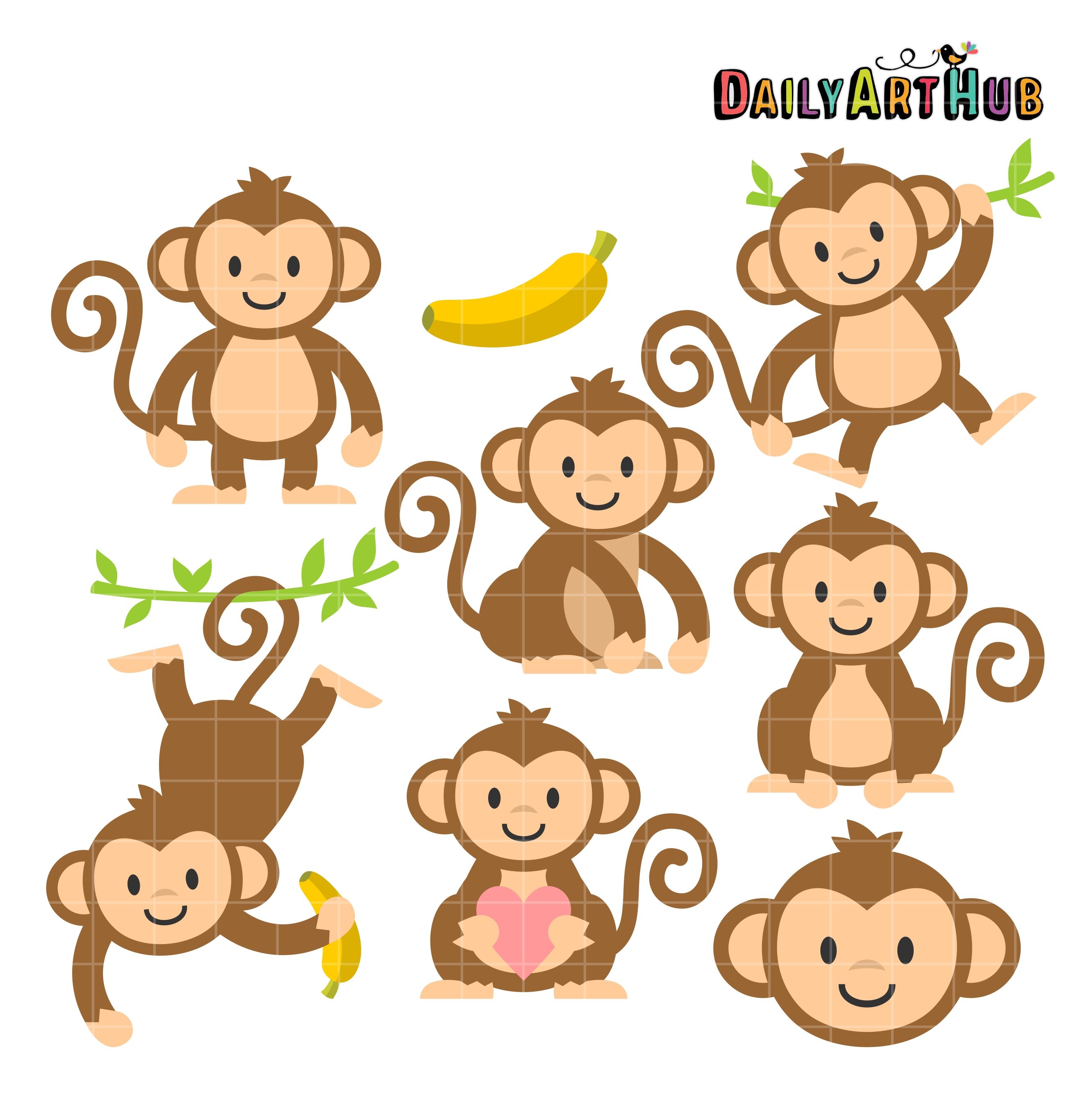 cute monkeys clip art set daily art hub free clip art everyday rh dailyarthub com clip art of monkey bars clip art of monkeys turning on people