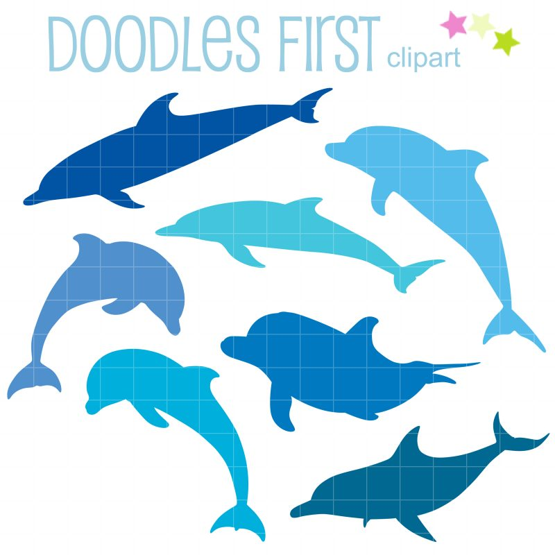 Blue Dolphin Silhouettes-