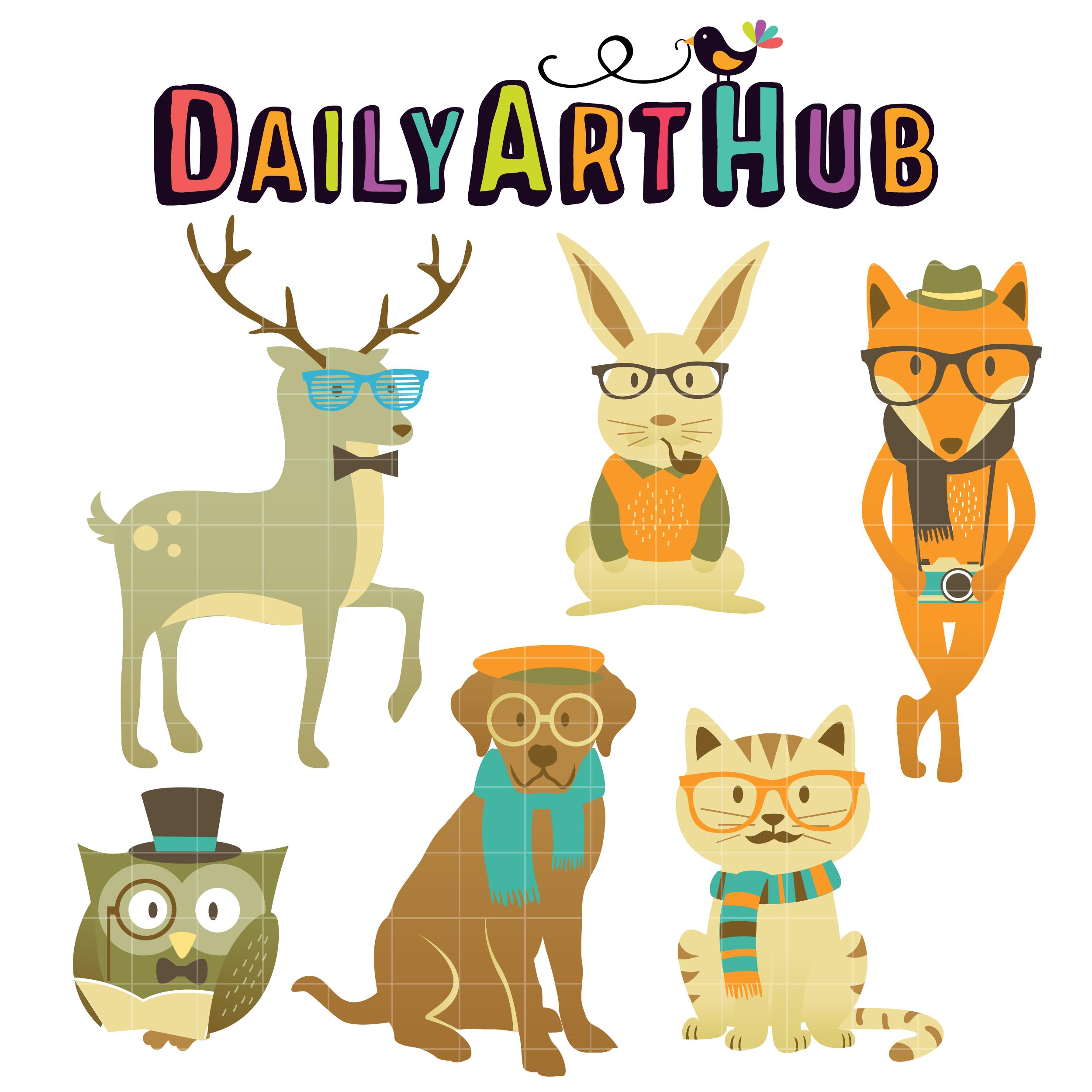 hipster animals clip art set daily art hub free clip art everyday rh dailyarthub com zoo animals clipart free clipart animals free download