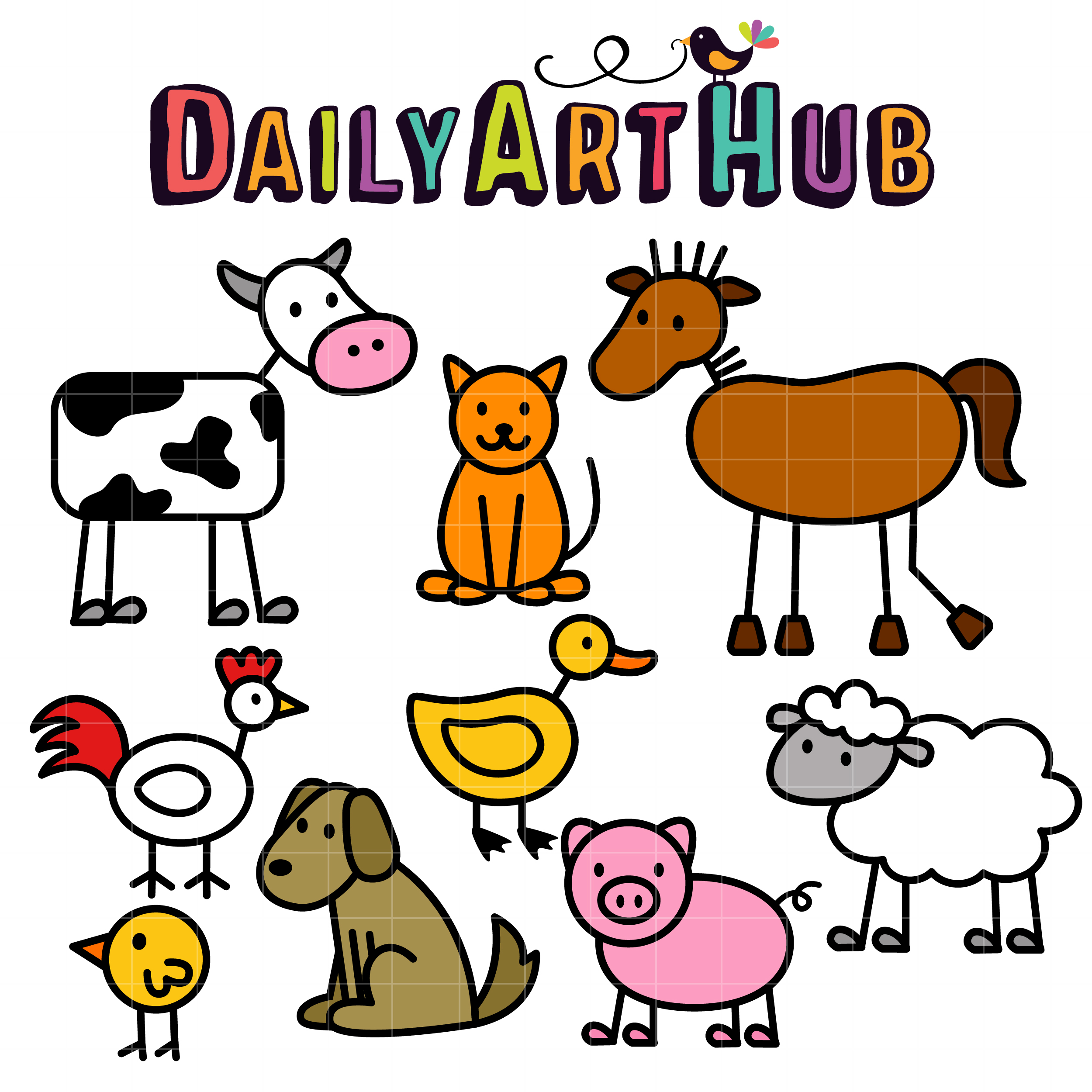 stick farm animals clip art set daily art hub free clip art everyday rh dailyarthub com clipart farm animals cartoon clip art farm animals for kids