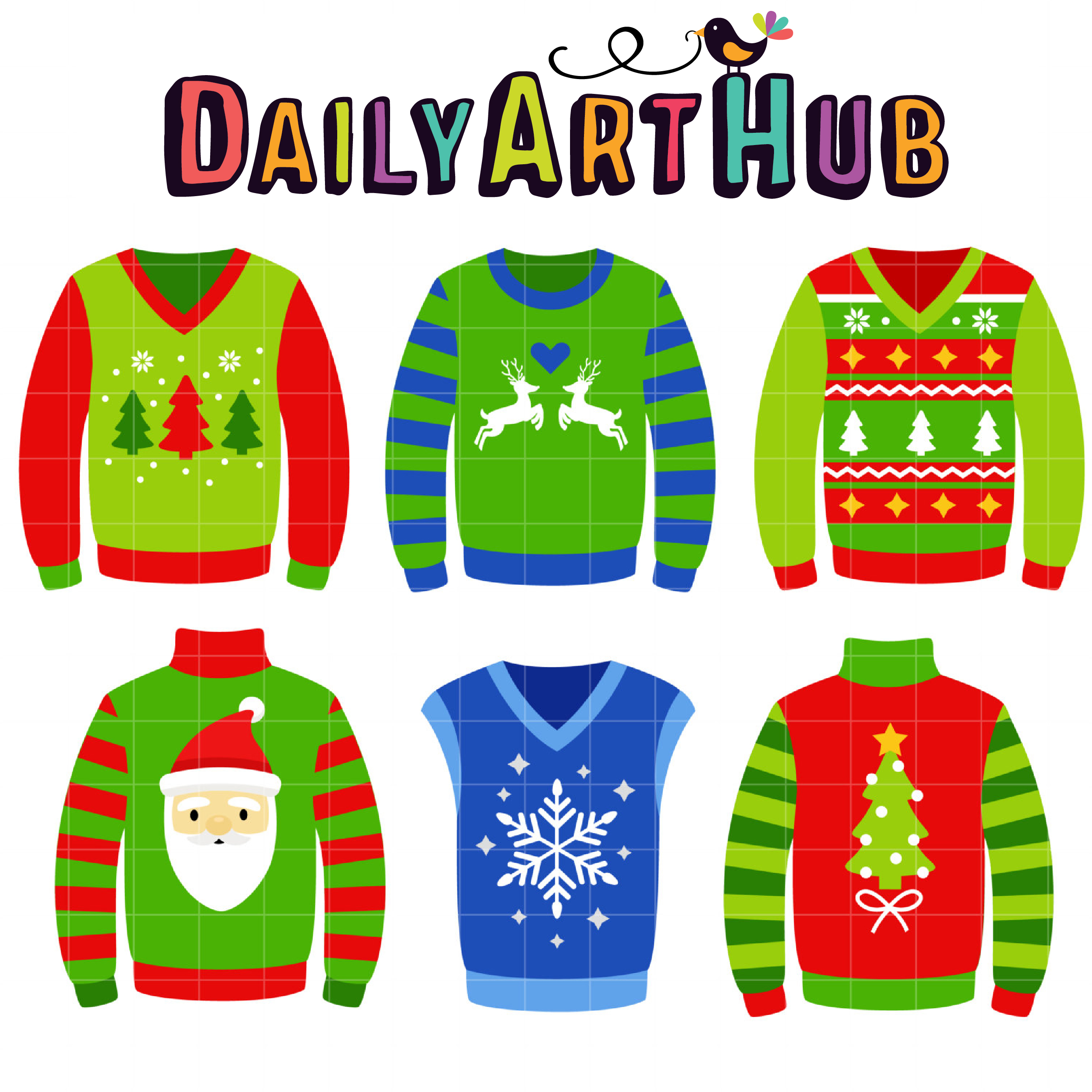 550d9d198181 Ugly Christmas Sweaters Clip Art Set – Daily Art Hub – Free Clip Art ...