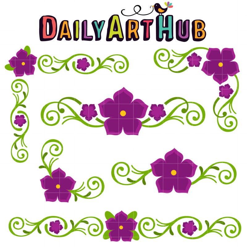 Violet Floral Corners and Borders-