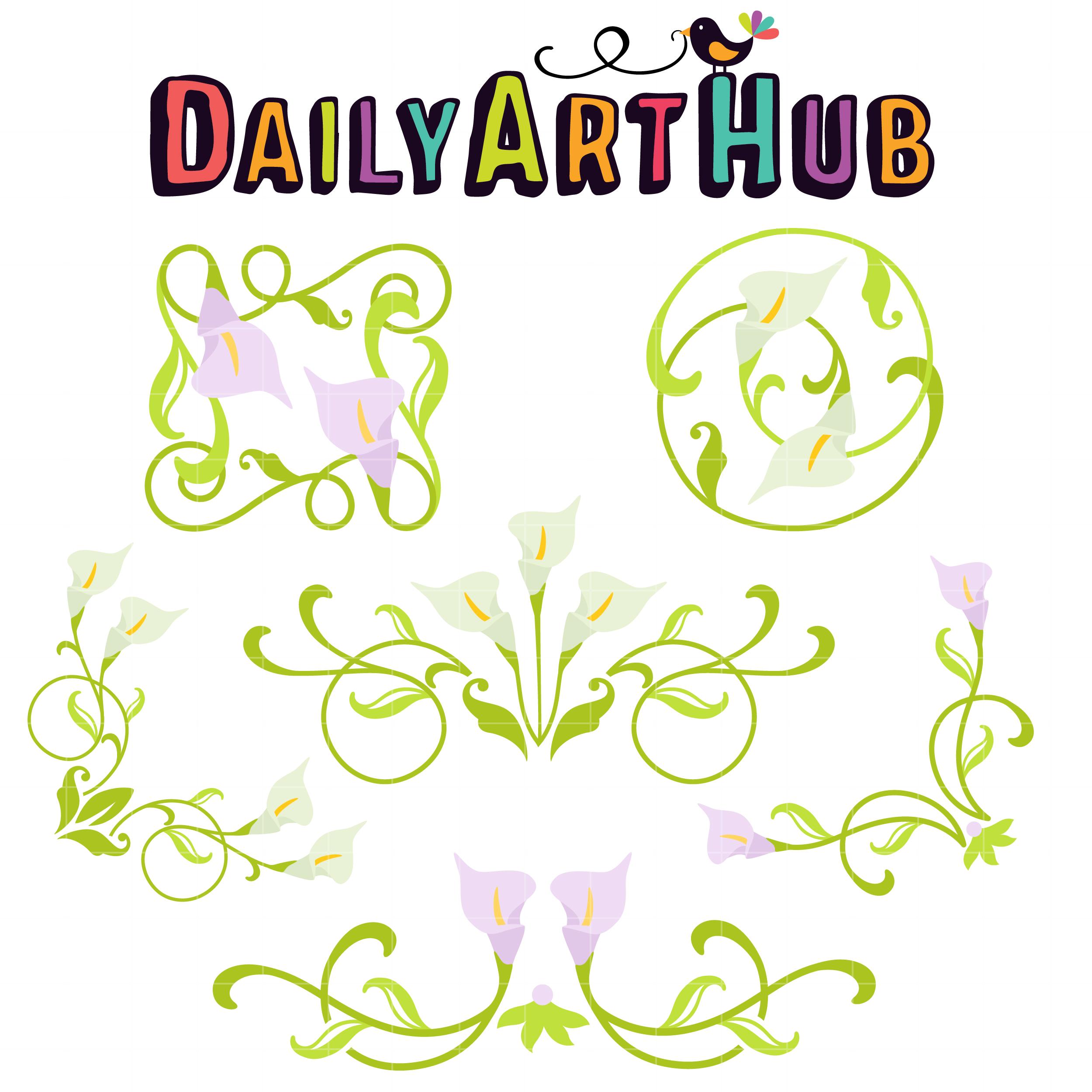 Calla Lily Corners And Borders Clip Art Set Daily Art Hub Free