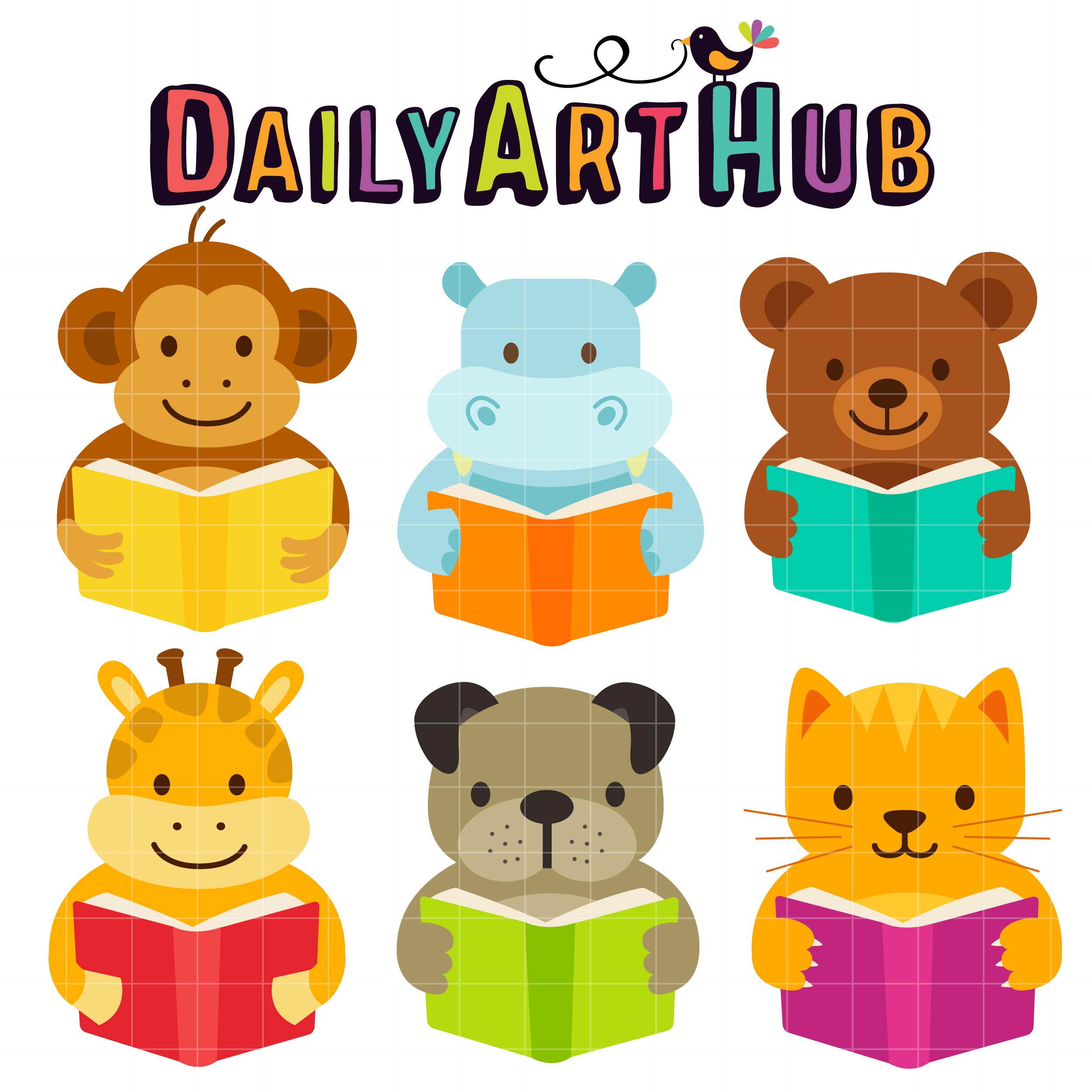 Cute Reading Animals Clip Art Set – Daily Art Hub – Free ...