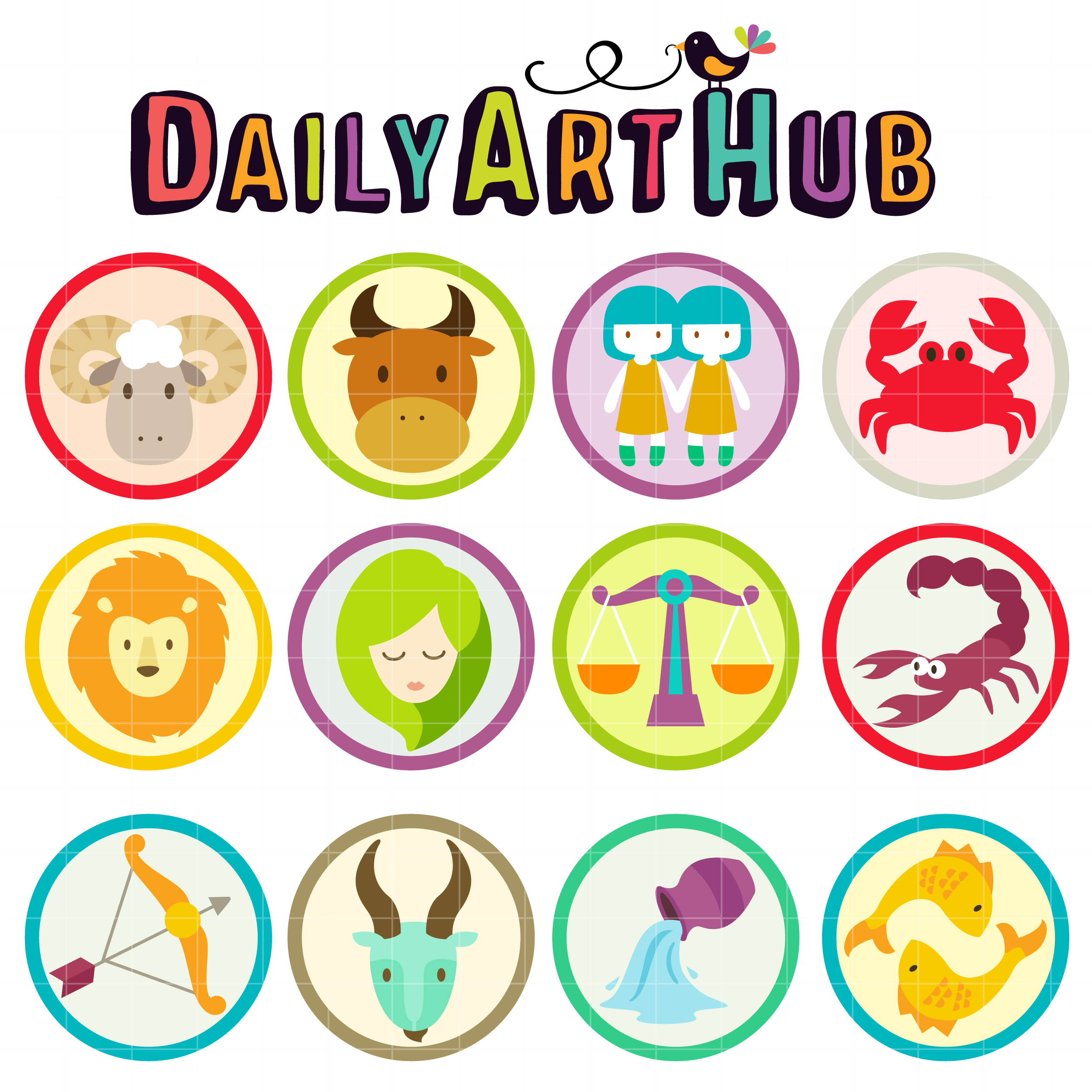 cute zodiac signs clip art set