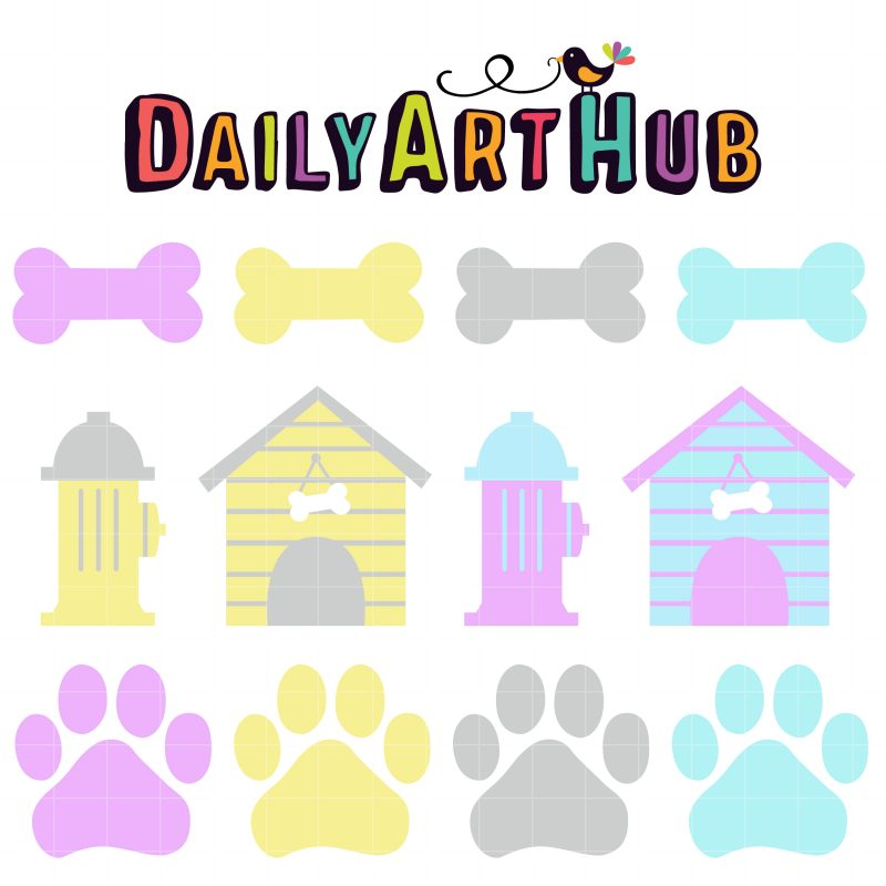 Dog Paws and Bones Pastels–