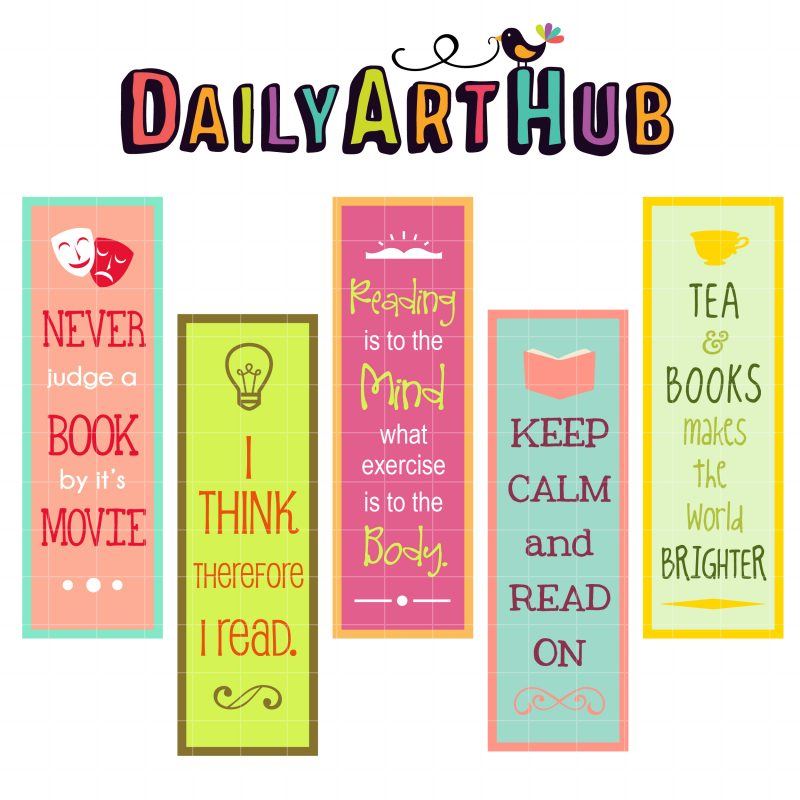 Reaading Quotes bookmarks Clip Art Set | Daily Art Hub ...