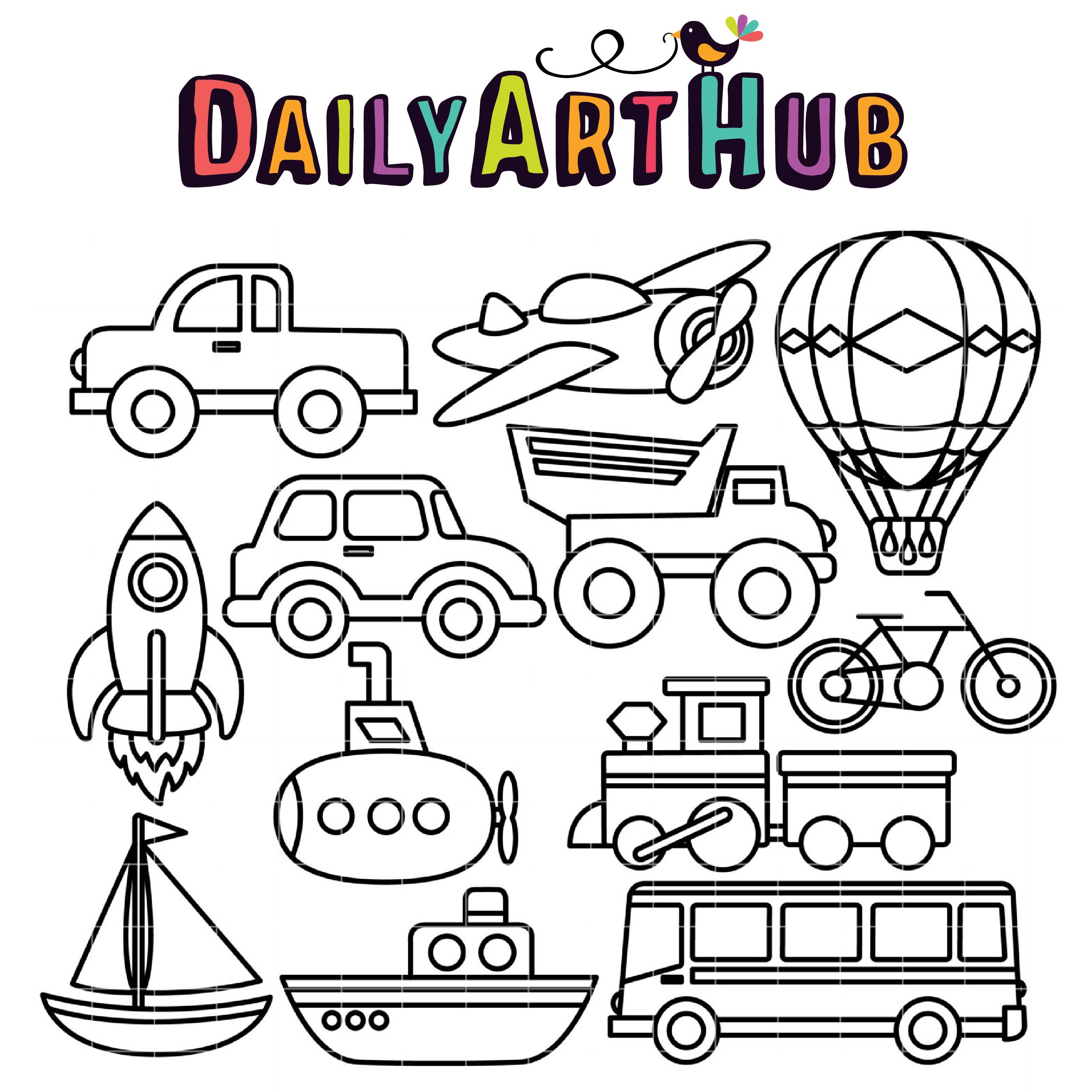 Coloring Book Transportation Clip Art Set