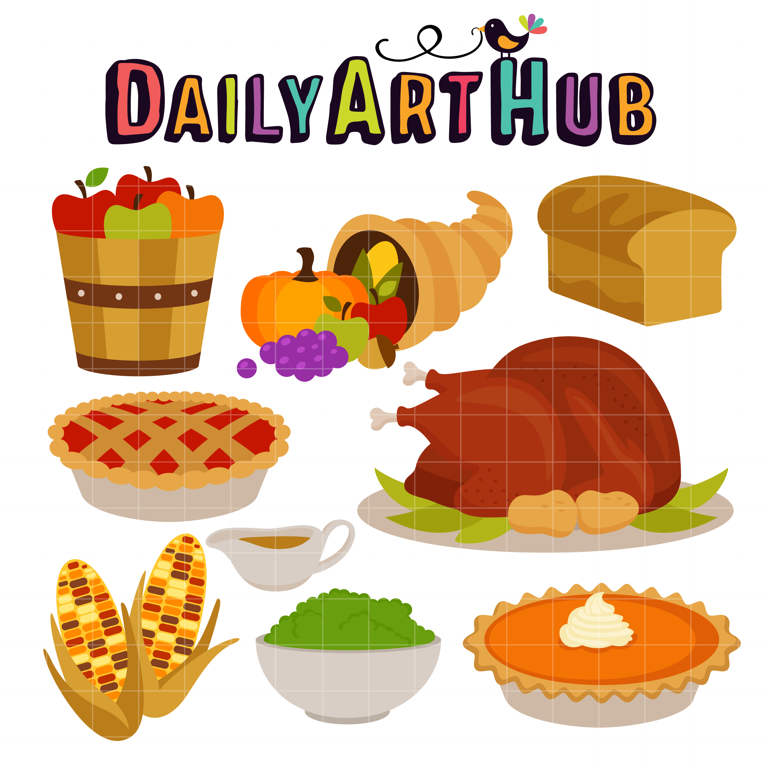 Thanksgiving Feast Clip Art Set – Daily Art Hub – Free ...