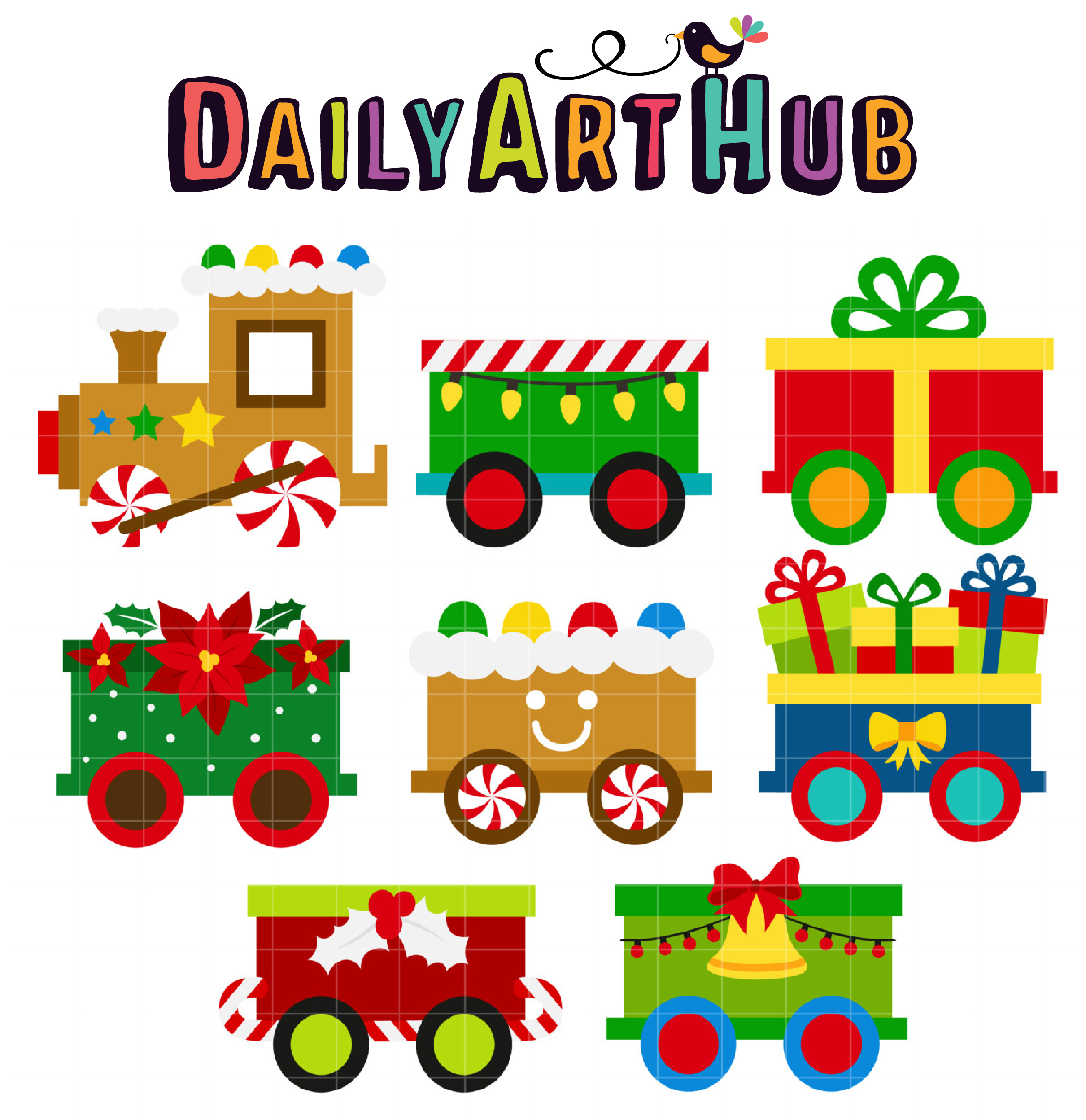 Christmas Train.Christmas Train Clip Art Set