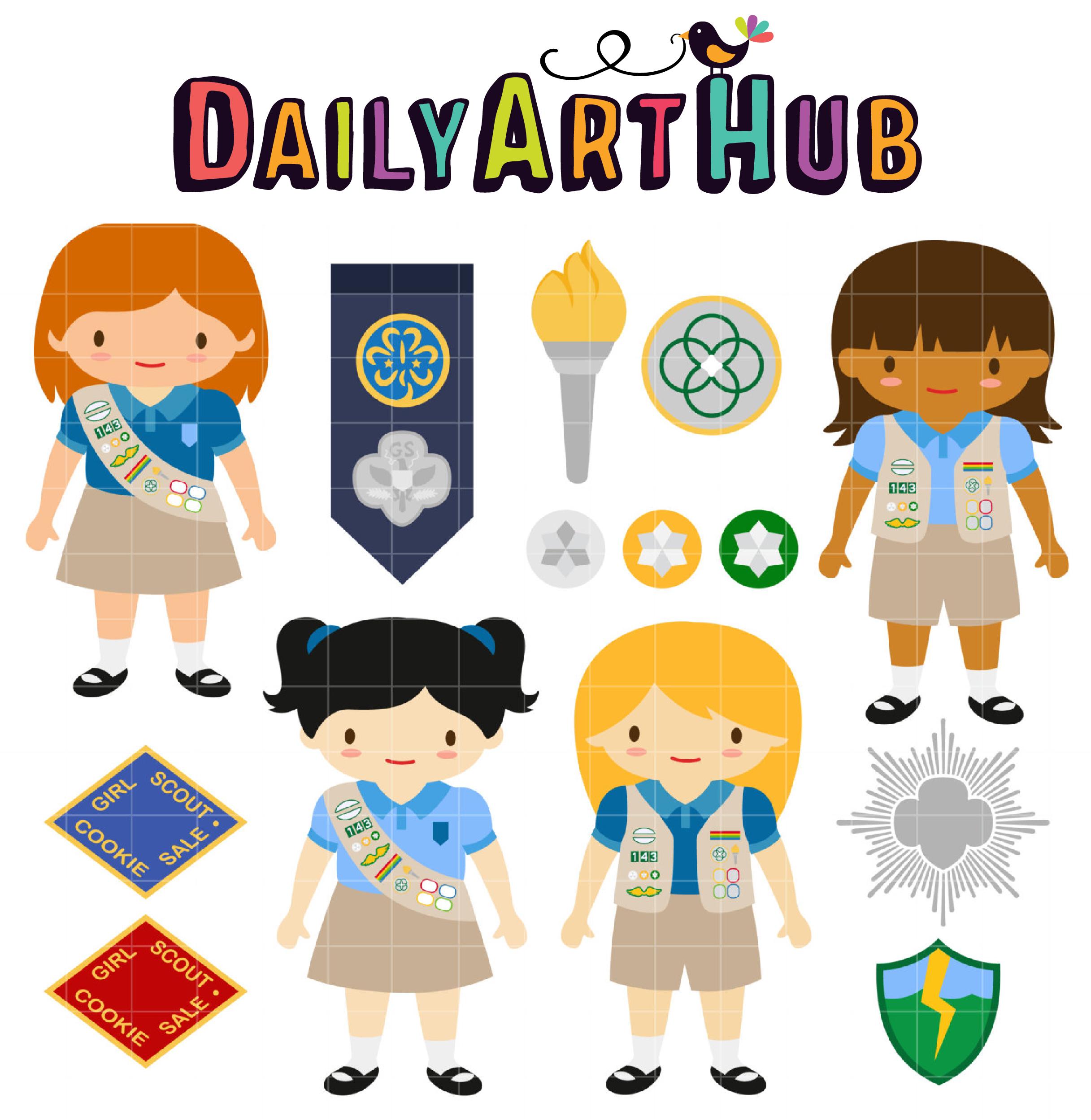 cadette girl scout clip art set daily art hub free clip art everyday rh dailyarthub com girl scout clip art images girl scout trefoil clipart