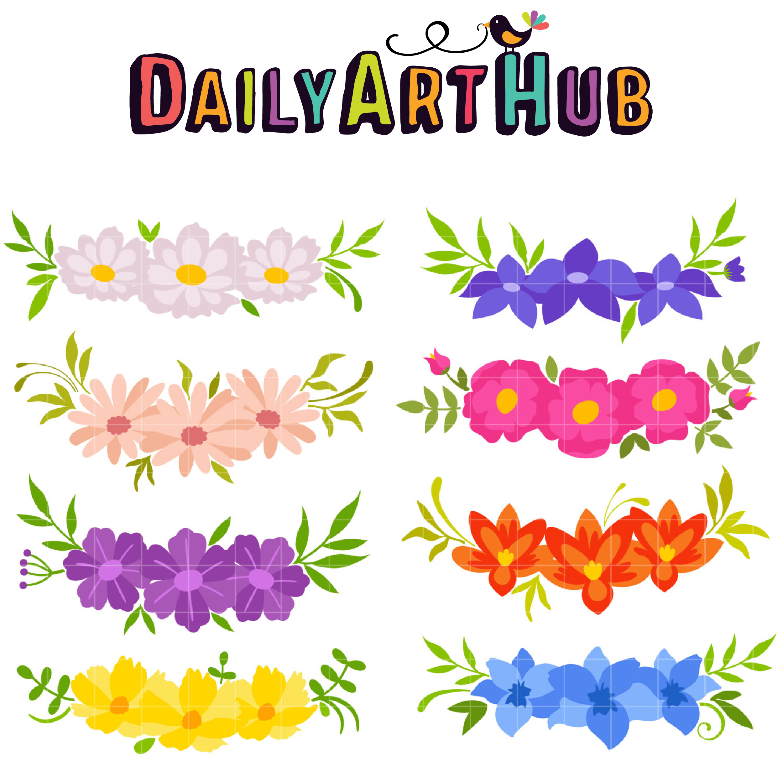 flower crowns clip art set daily art hub free clip art everyday rh dailyarthub com free floral clip art designs free floral clipart to print