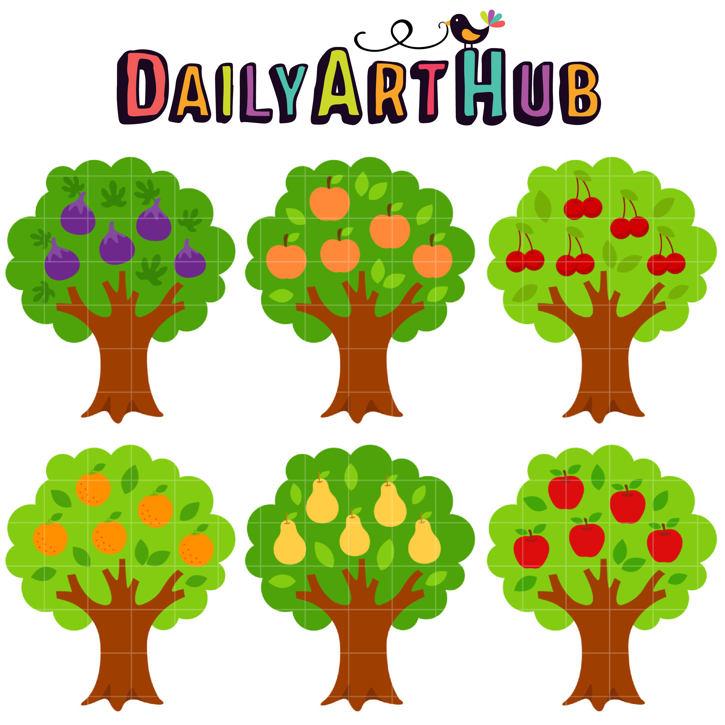Fruit Bearing Trees Clip Art Set Daily Art Hub Free Clip Art