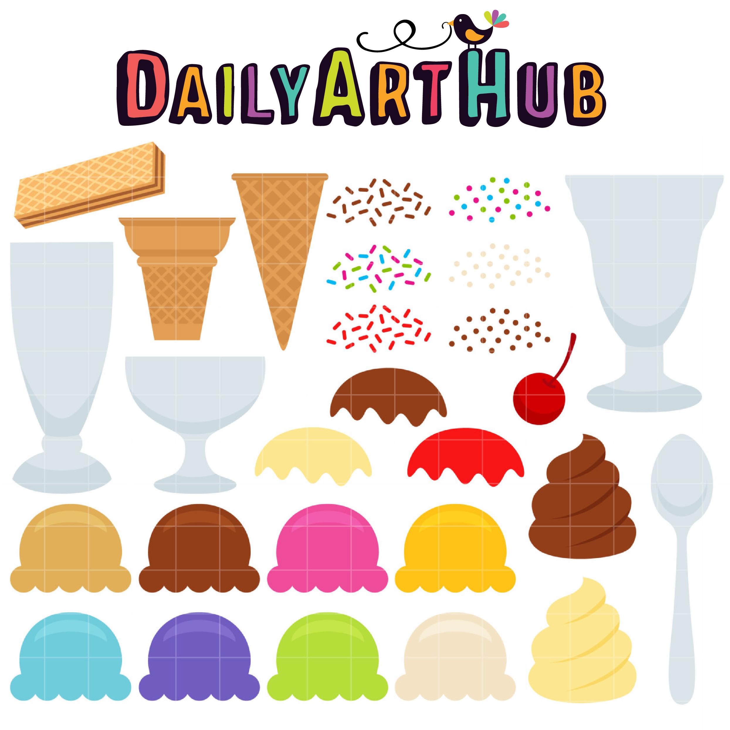 Make Your Own Ice Cream Clip Art Set Daily Art Hub