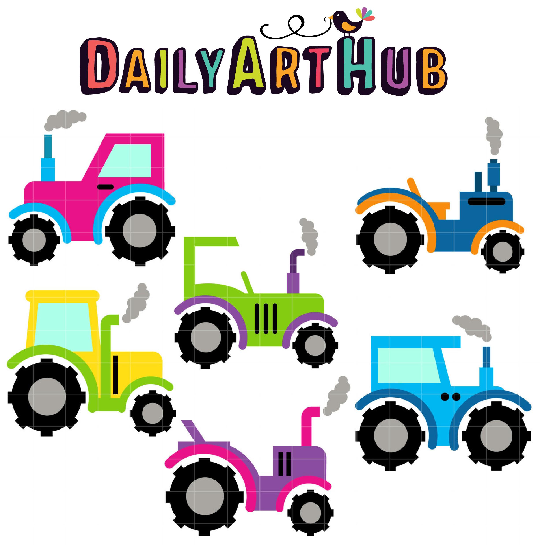 Tractor Cart Clip Art : Cute tractors clip art set daily hub free
