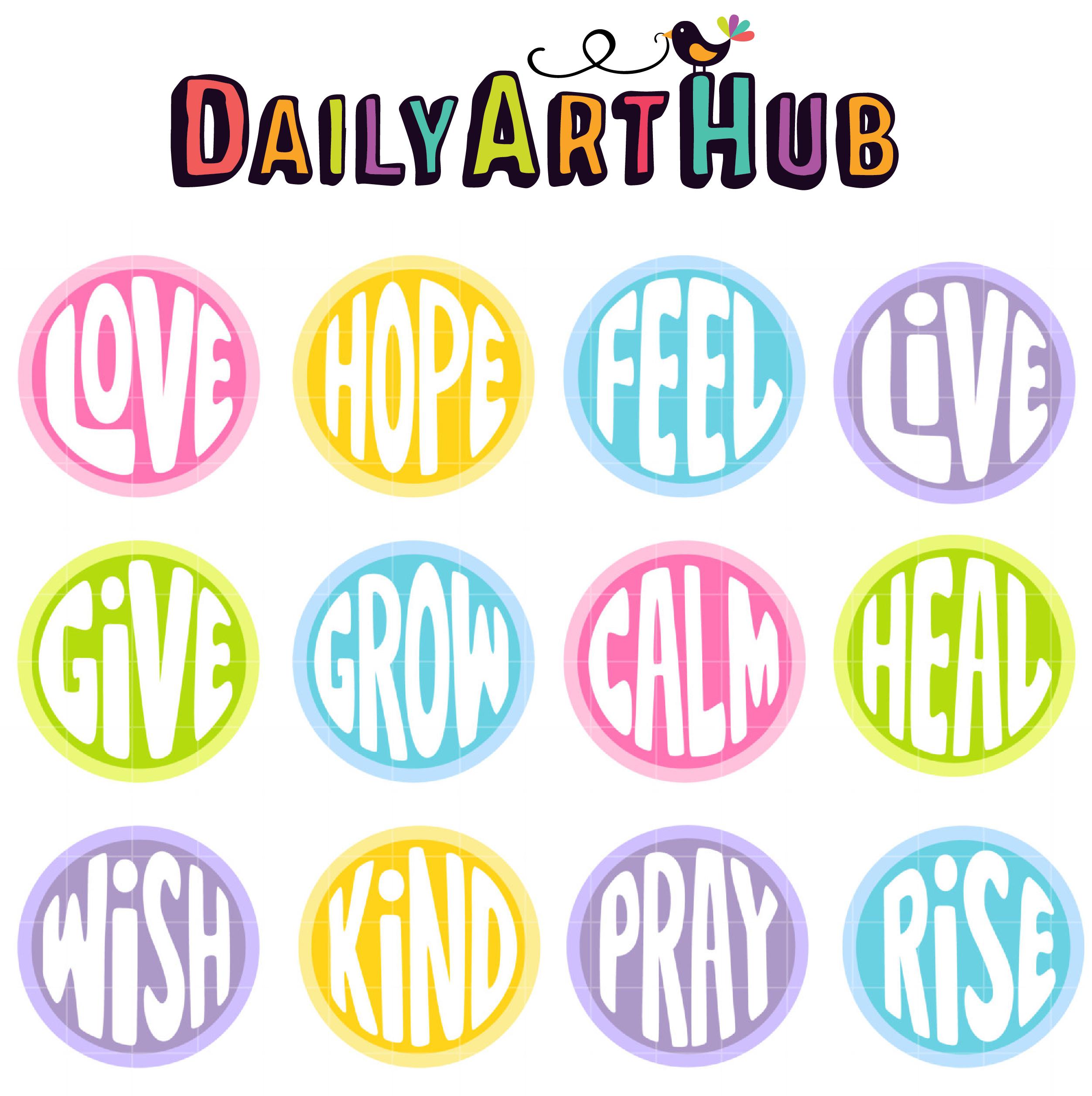 Inspirational Words Free Inspirational Words Clip Art Set  Daily Art Hub  Free Clip
