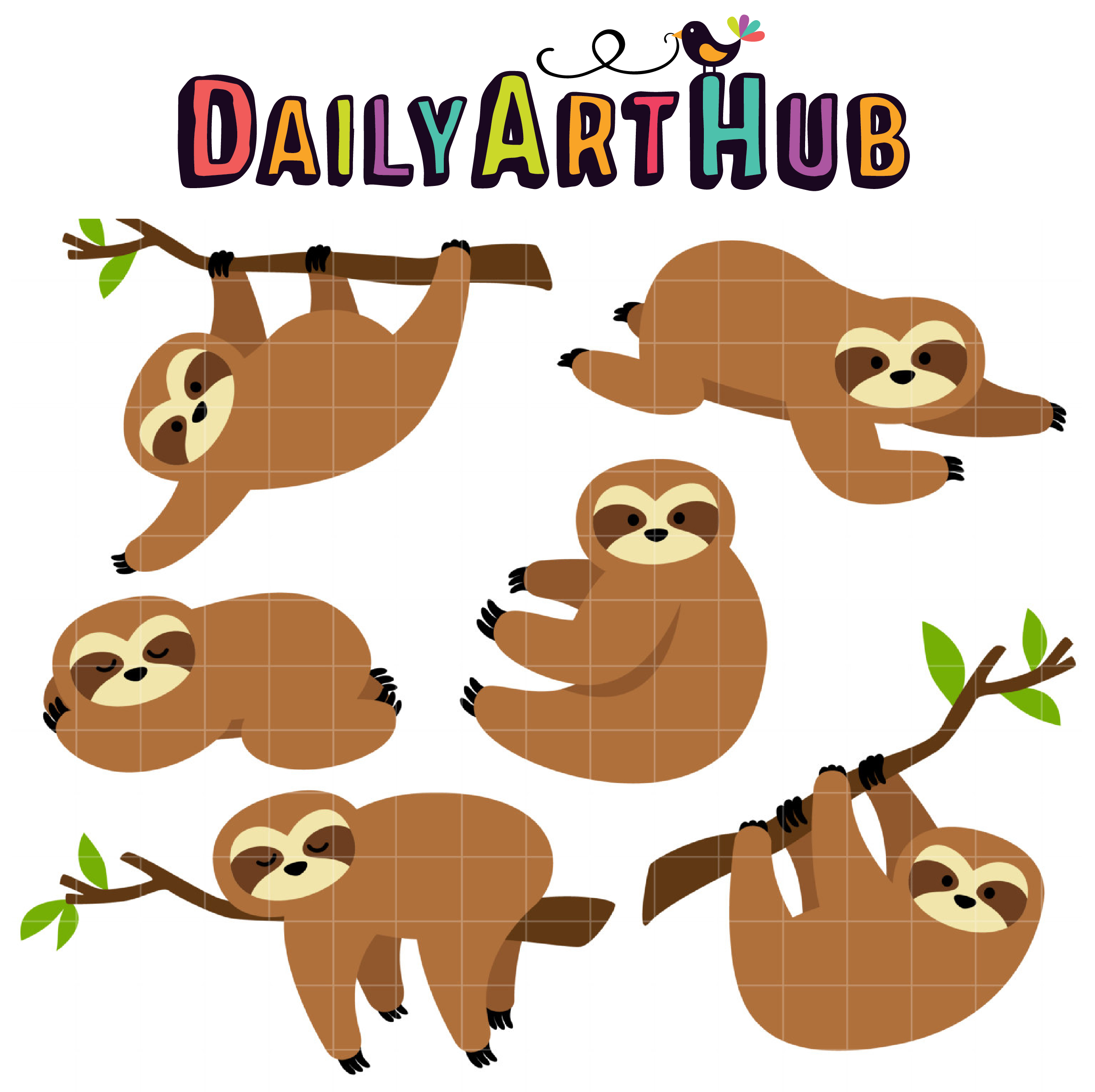 sluggish sloths clip art set daily art hub free clip art everyday rh dailyarthub com sloth clip art images sloth clip art free