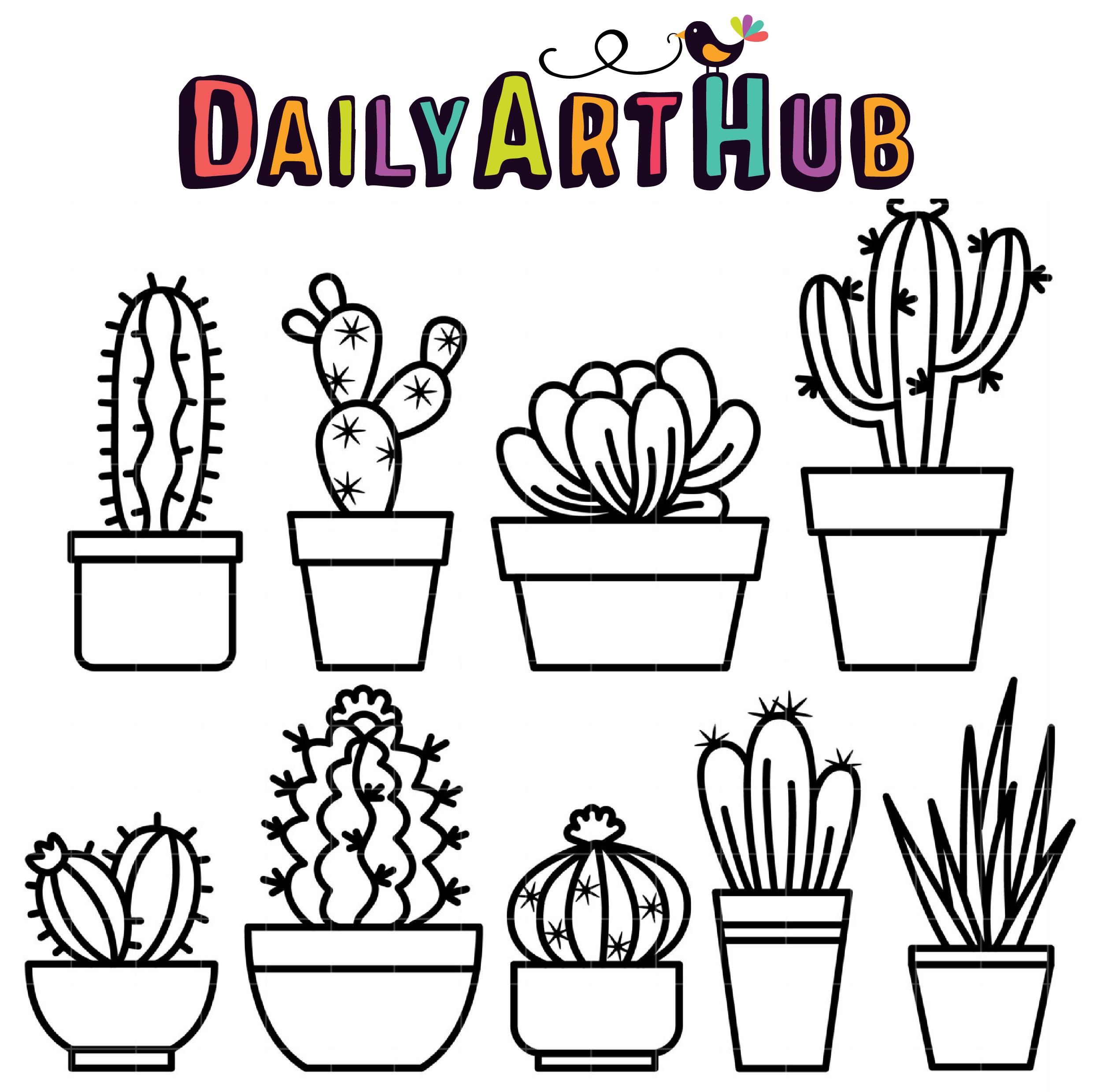 Outline Cactus Clip Art Set – Daily Art Hub – Free Clip Art Everyday
