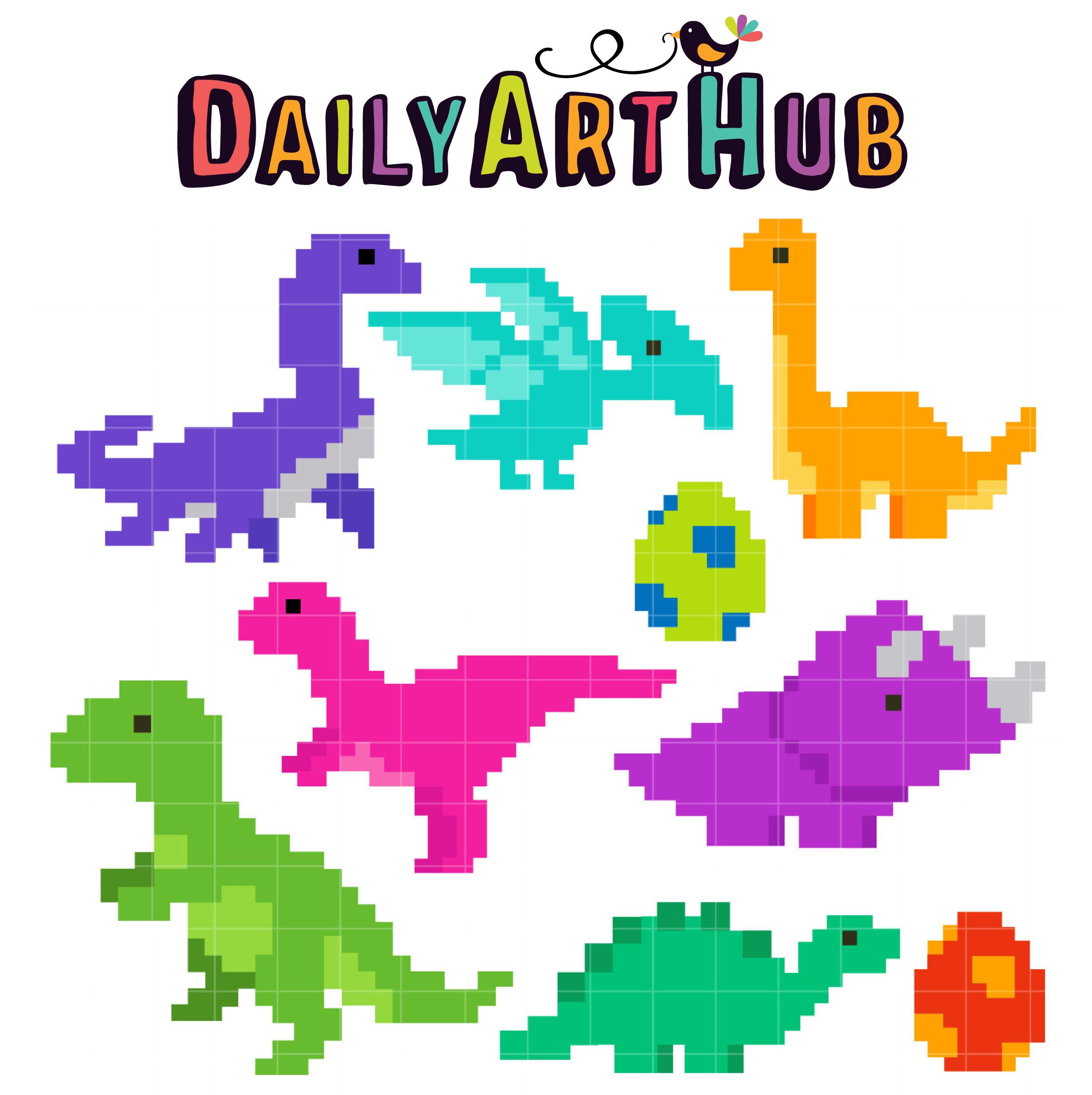 Pixel Dino Clip Art Set - Daily Art Hub - Free Clip Art Everyday