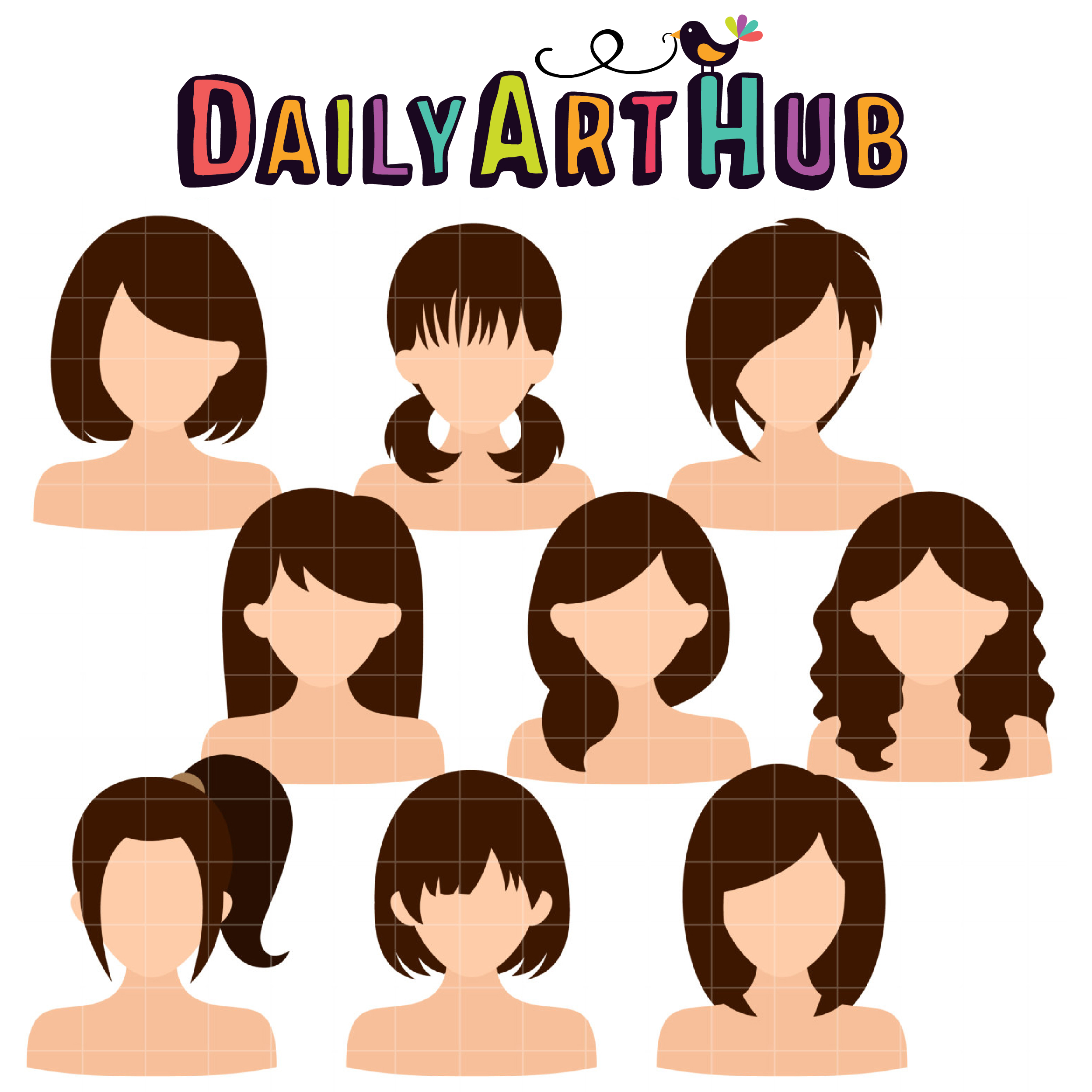 Woman Hairstyles Clip Art Set Daily Art Hub Free Clip Art Everyday