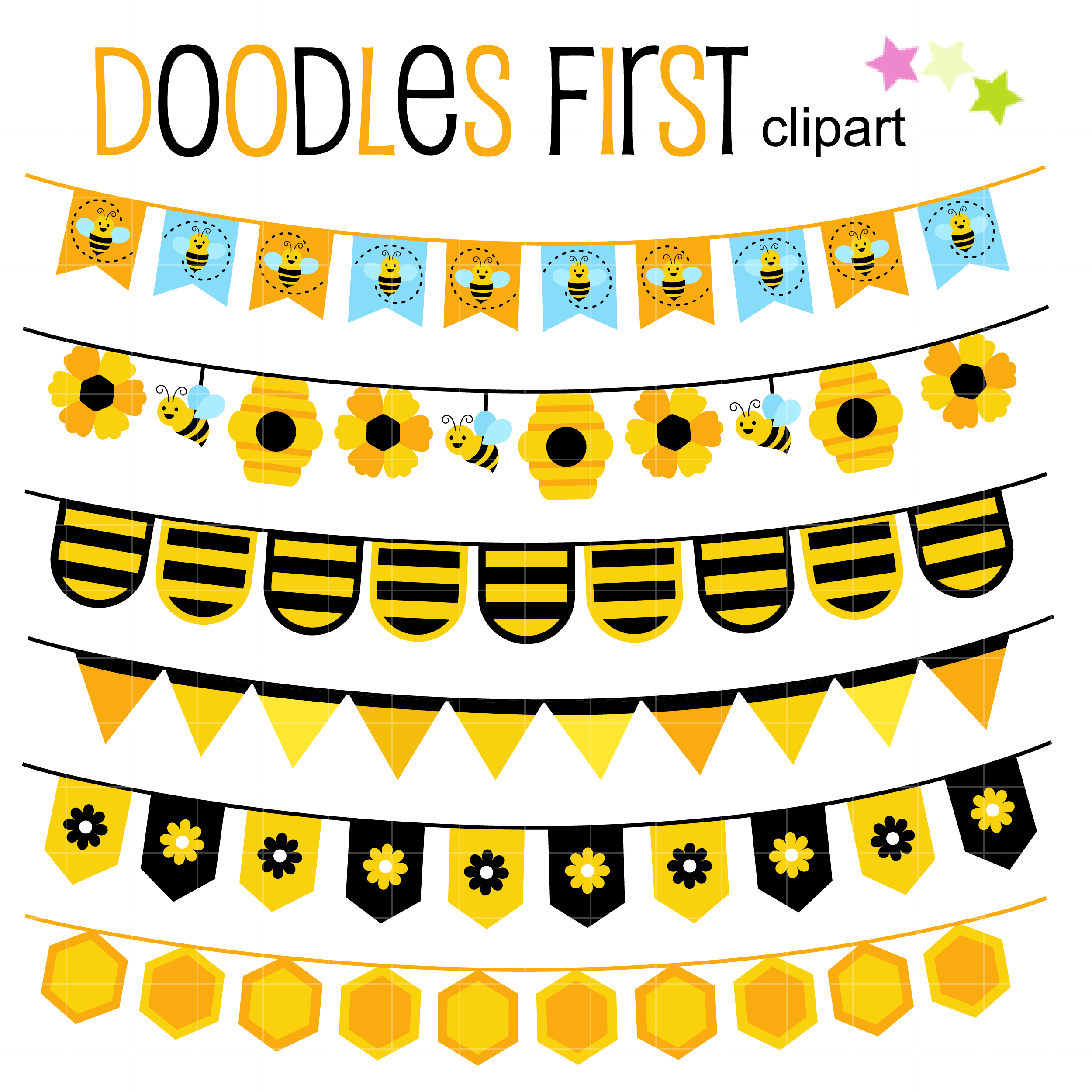 Free Busy Bee Buntings Clip Art Set Daily Art Hub Free Clip Art Everyday
