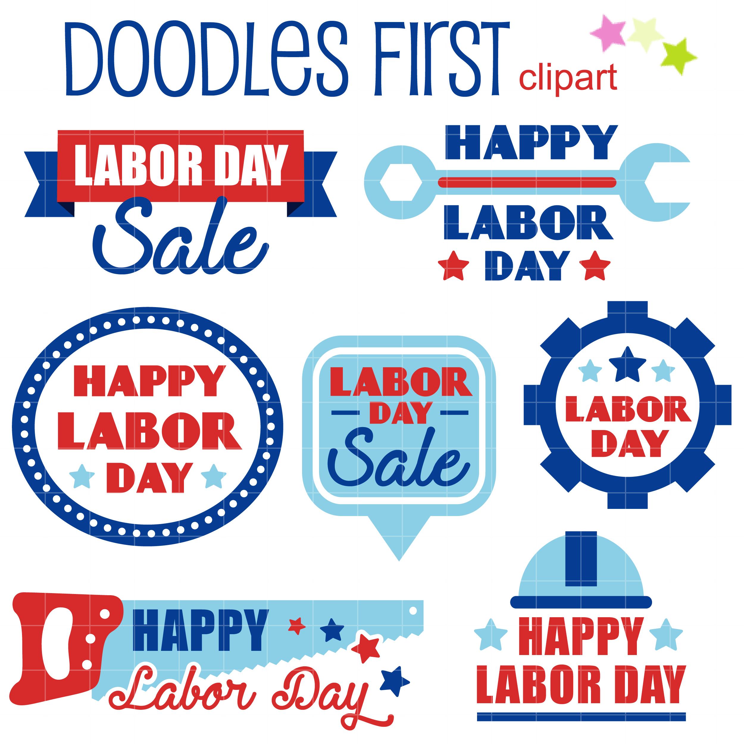 Happy Labor Day Clip Art Set