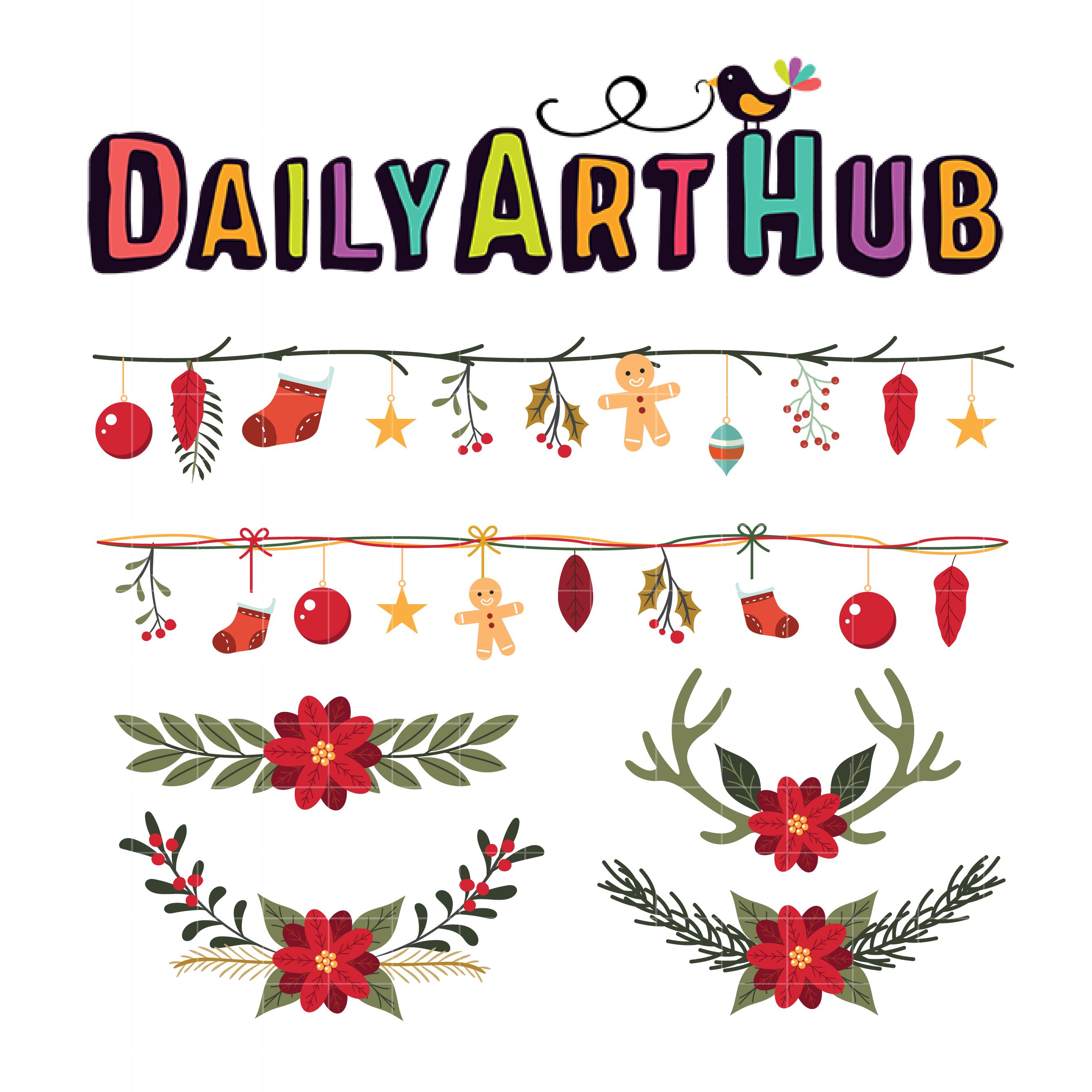 Christmas Garlands Clip Art Set