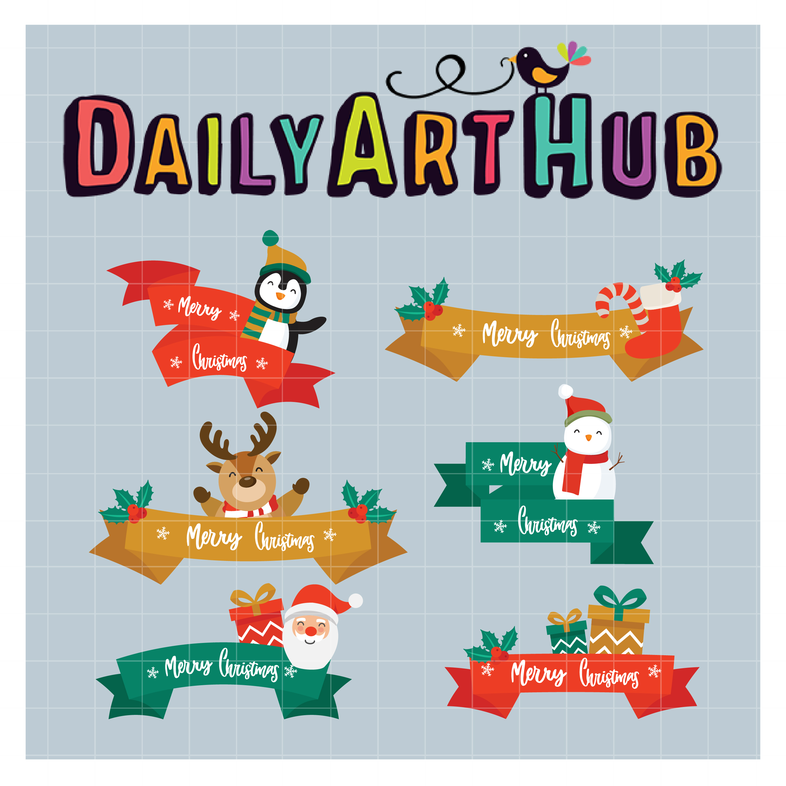 Merry Christmas Ribbon Clipart.Christmas Ribbons Clip Art Set