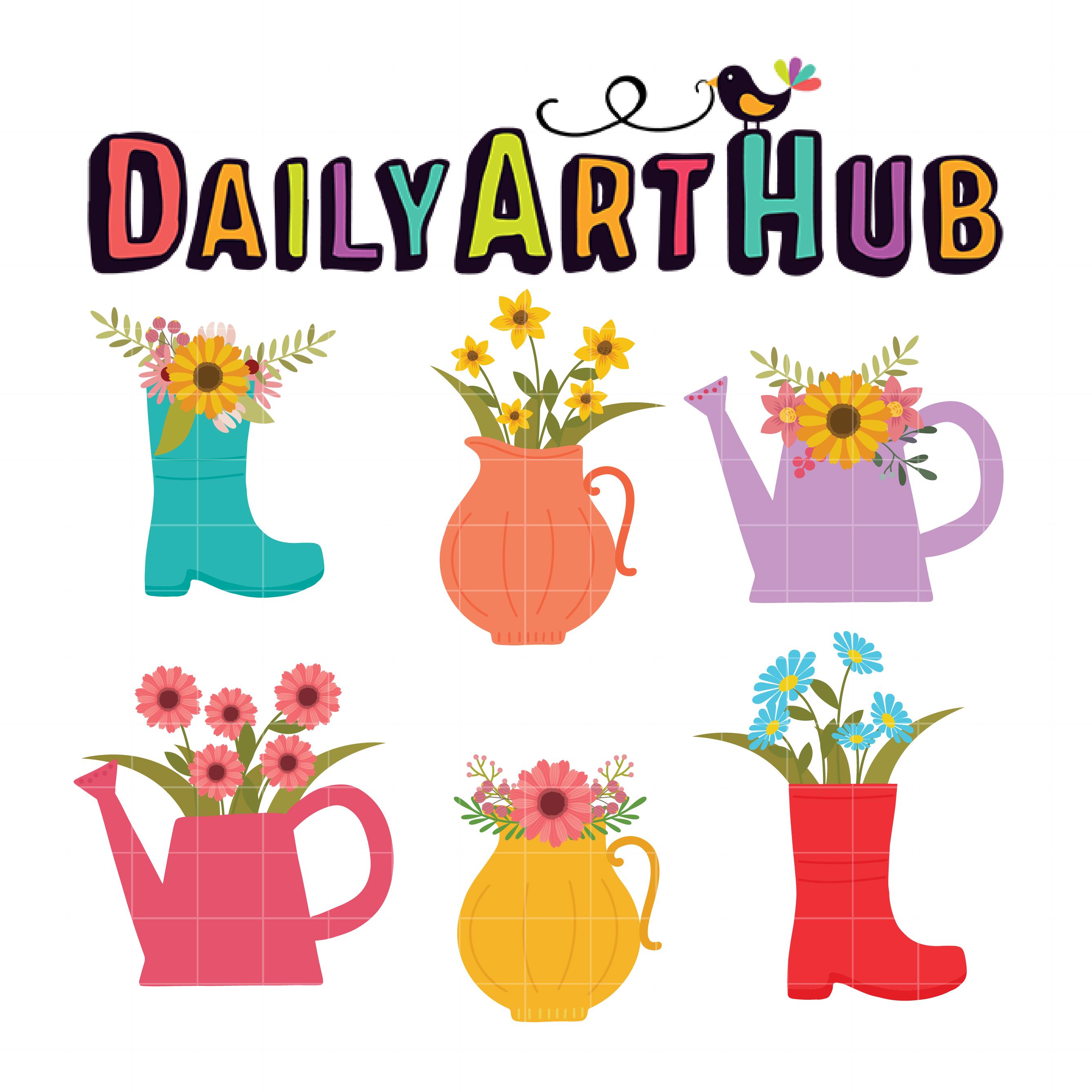 225 & Delicate Flower Vase Clip Art Set