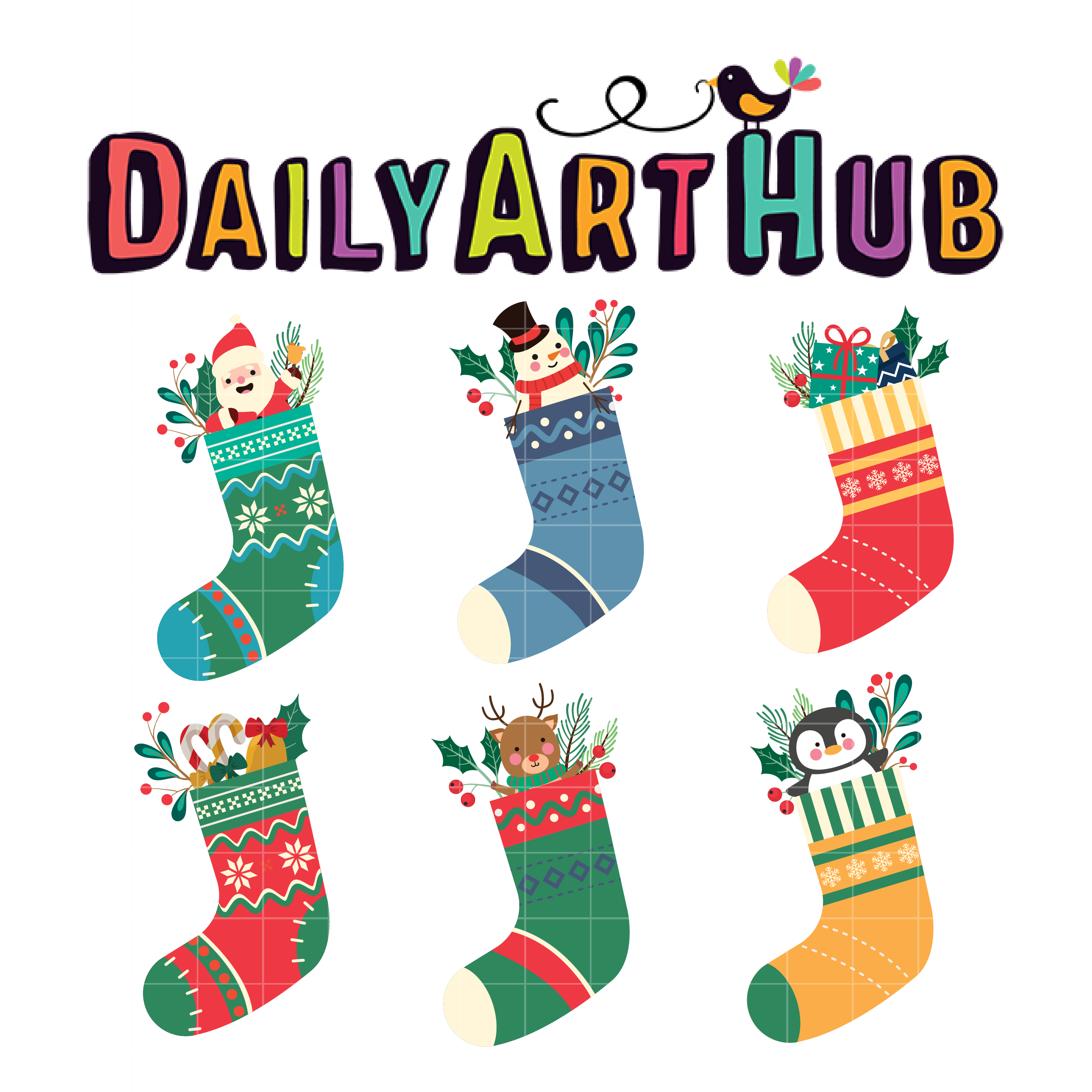 Christmas Socks with Characters Clip Art Set - Daily Art ... (2675 x 2675 Pixel)